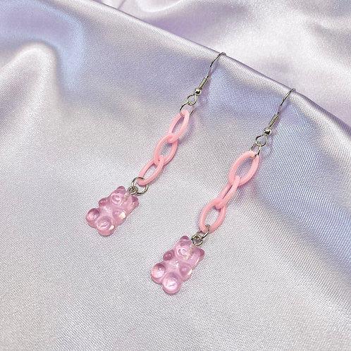 Pink Gummy Bear Chain Earrings