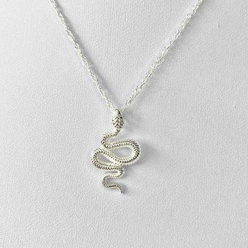 Silver Engraved Snake Necklace