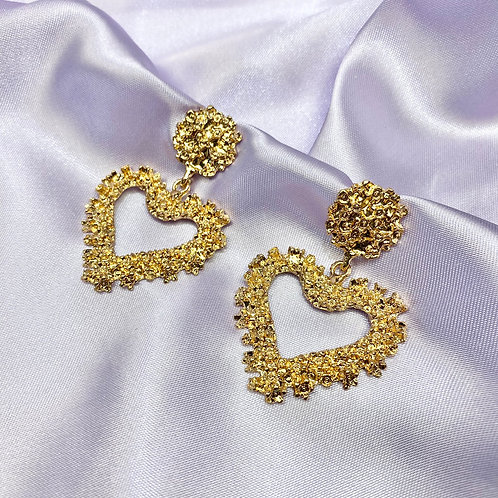 Gold Heart Statement Earrings