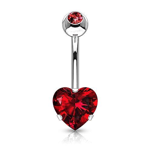 Red Heart CZ Prong Belly Bar