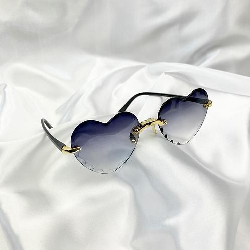 Black Grey Crinkle Heart Sunglasses