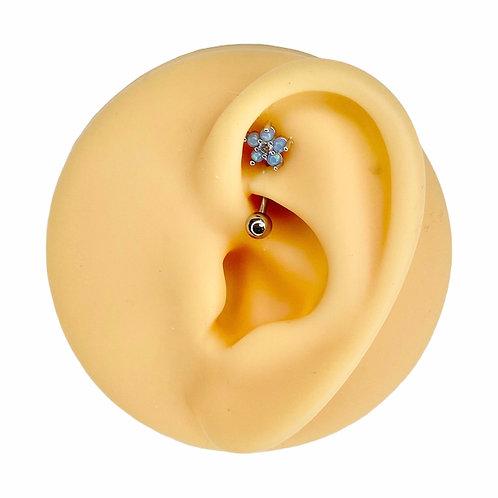 Blue Opal Glitter Flower CZ Center Curved Barbell
