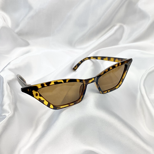 Tortoiseshell Clear Rectangle Cat Eye Sunglasses