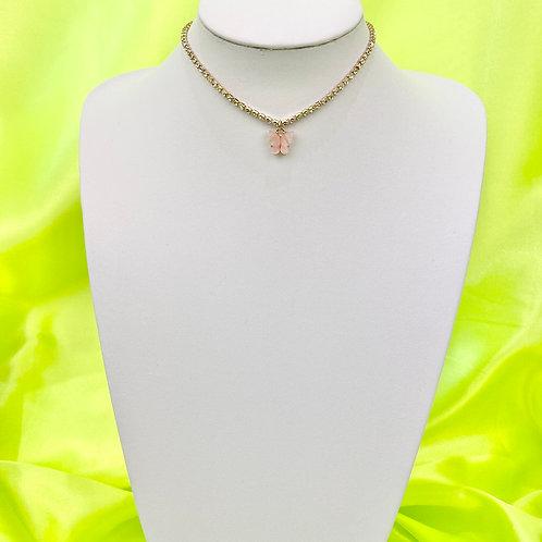 Light Pink Rhinestone Butterfly Choker Necklace