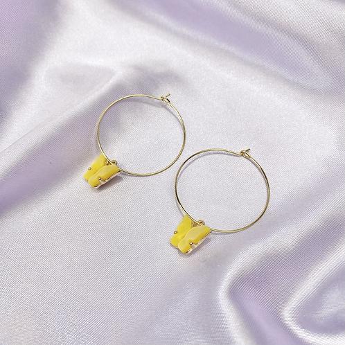Yellow Butterfly Hoop Earrings