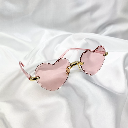 Pink Crinkle Heart Sunglasses