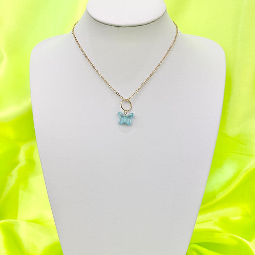 Blue Butterfly Bead Necklace
