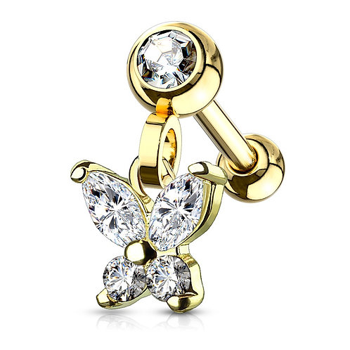 Gold Dangle CZ Butterfly Barbell Stud