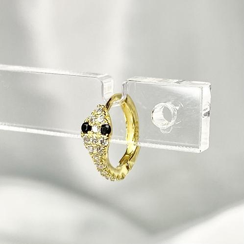 Gold Black Eye CZ Snake Earrings