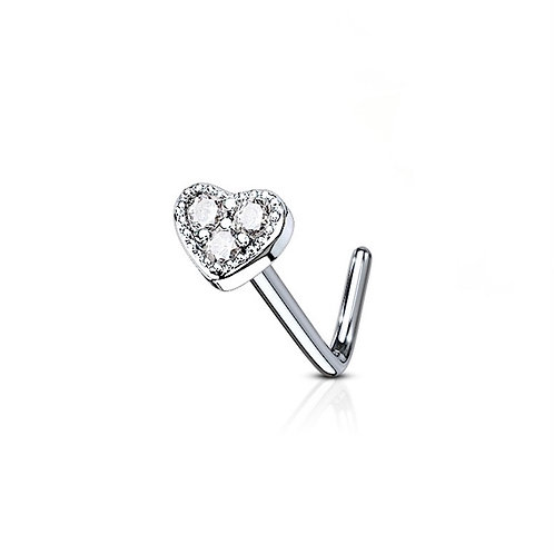 Silver / Clear 3 CZ Paved Heart Nose Stud