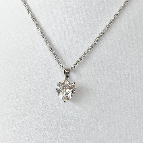 Silver Cubic Zirconia Statement Heart Necklace