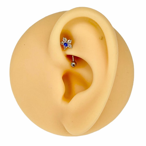 Blue CZ Flower Curved Barbell