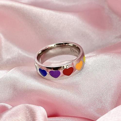 Rainbow Heart Dome Ring