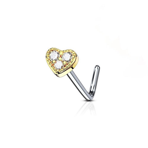 Gold / Clear 3 CZ Paved Heart Nose Stud