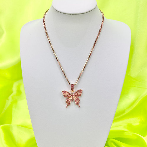 Pink Rhinestone Butterfly Tennis Necklace