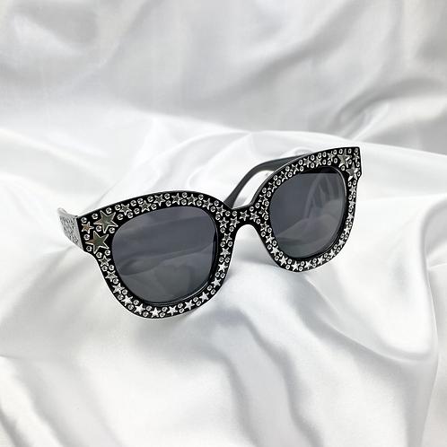Black Clear Star Square Sunglasses
