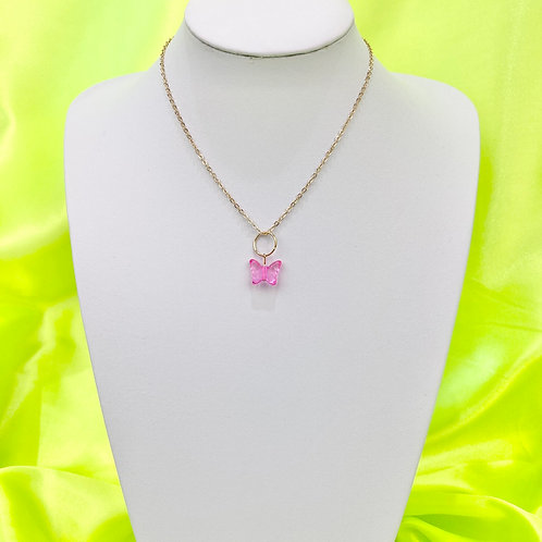Pink Butterfly Bead Necklace