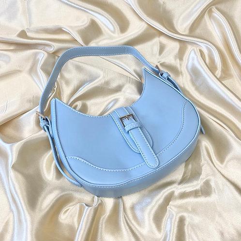 Blue Buckle Front Shoulder Bag