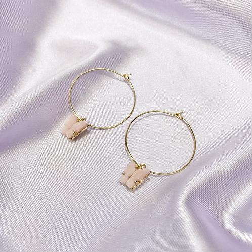 Light Pink Butterfly Hoop Earrings