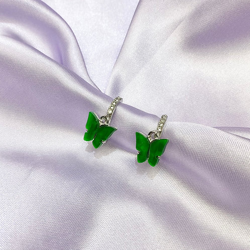 Green Rhinestone Butterfly Hoop Earrings