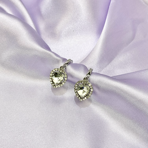 Silver Rhinestone Gem Heart Hoop Earrings