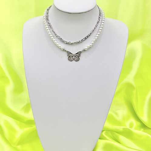 Layered Pearl Butterfly Necklace