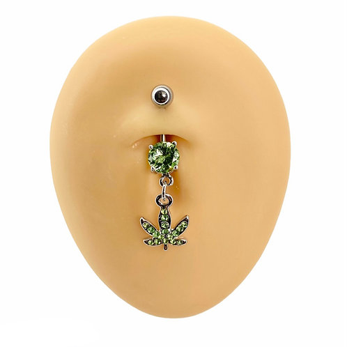 Green Crystal Paved Weed Leaf Belly Bar