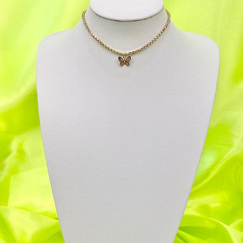 Gold Rhinestone Butterfly Choker Necklace
