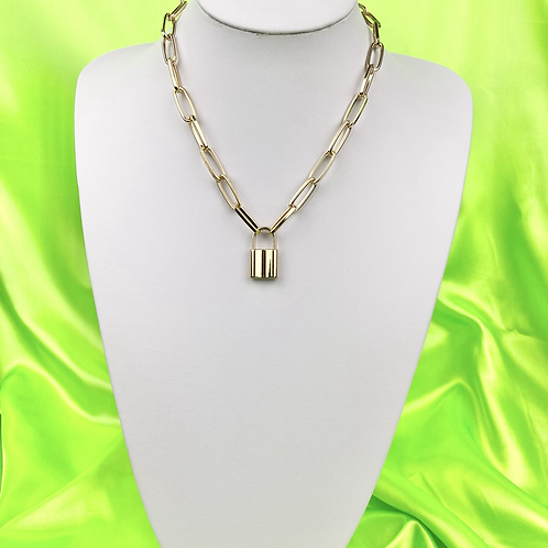 Gold Industrial Padlock Necklace