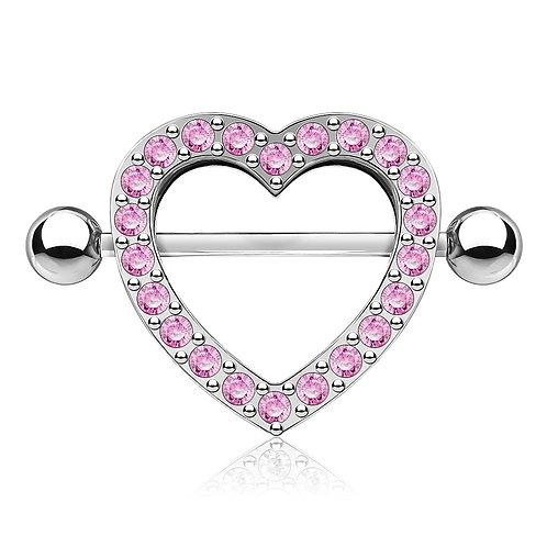 Pink Rhinestone Heart Nipple Bar Shield