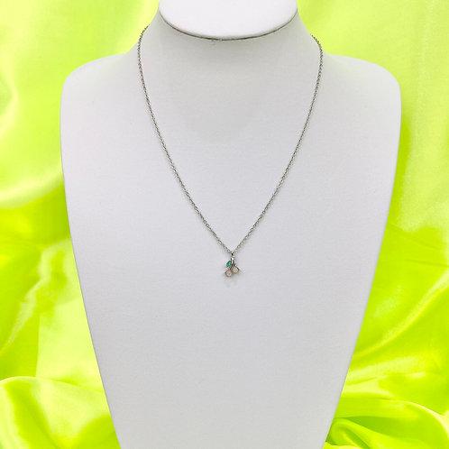 Silver Dainty Rhinestone Gem Cherry Necklace
