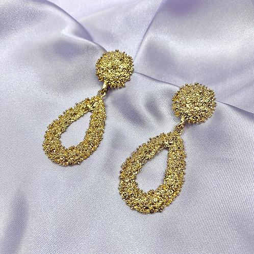 Gold Oval Statement Earrings
