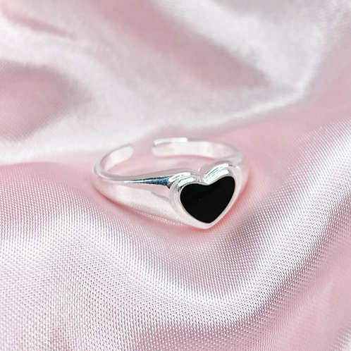 Silver Black Heart Ring