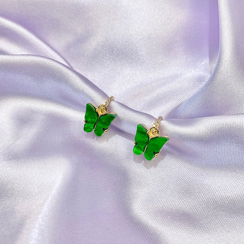 Green Butterfly Hoop Earrings