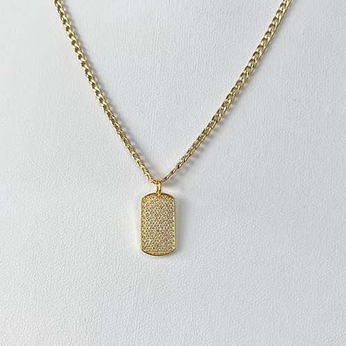 Gold CZ Paved Tag Necklace