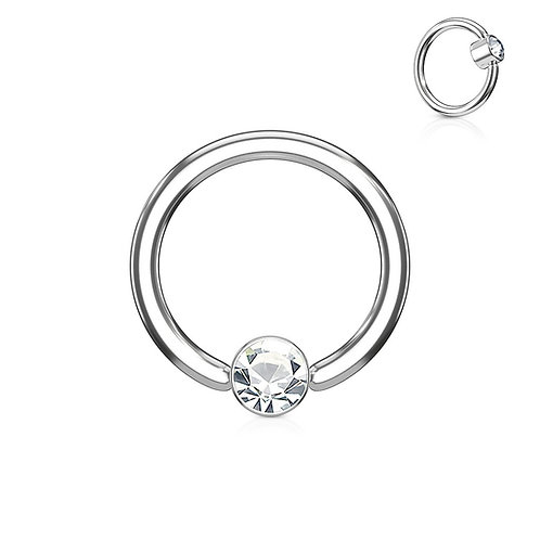 Clear Crystal Flat Captive Hoop Ring