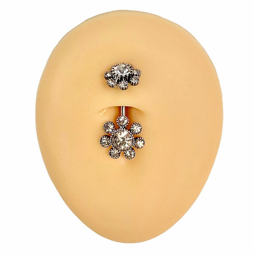 Silver Double End Funky Crystal Flower Belly Bar
