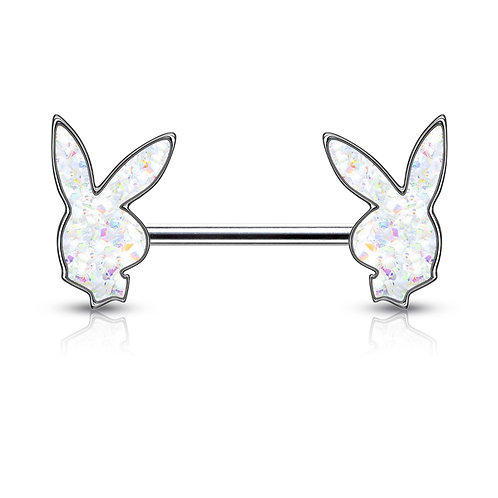 White Druzy Stone Filled Playboy Nipple Bar