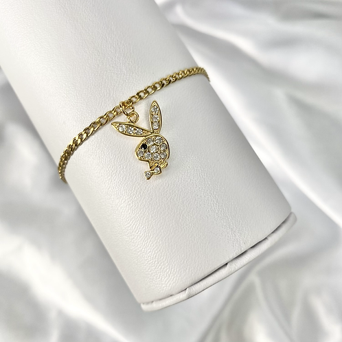 Gold Cubic Zirconia Playboy Anklet