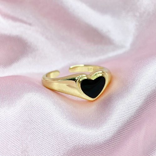Gold Black Heart Ring
