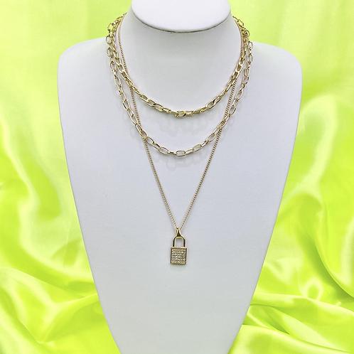 Rhinestone Layered Padlock Necklace