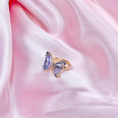 Blue Clear Rhinestone Butterfly Ring