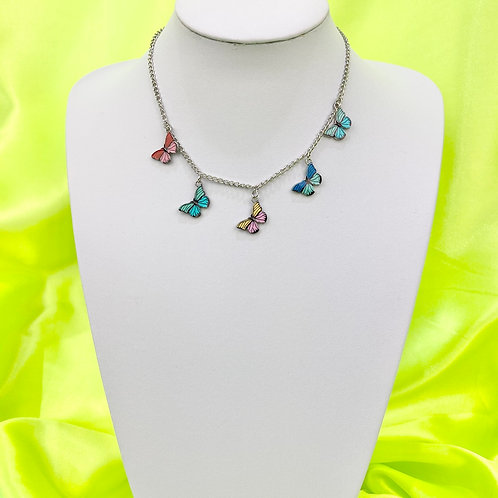 Silver Butterfly Print Necklace
