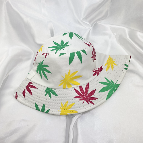 White, Pink, Green & Yellow Weed Leaf Bucket Hat