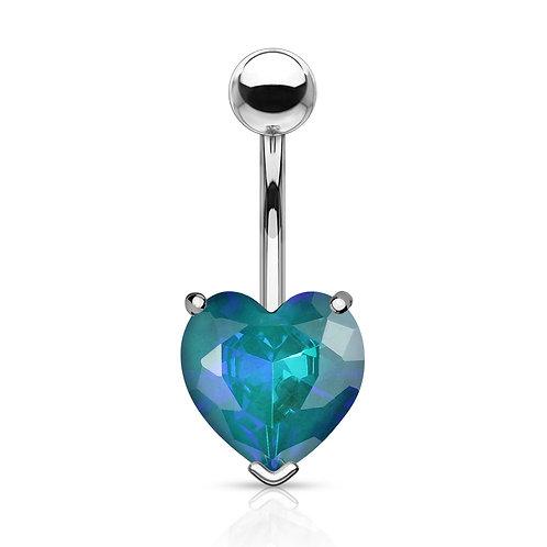Aqua Heart Gem Belly Bar