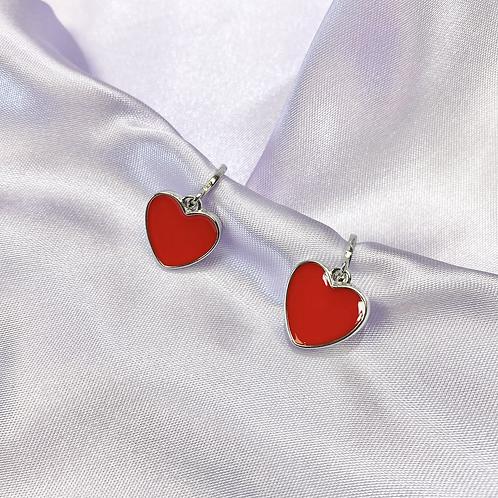 Silver Enamel Heart Hoop Earrings