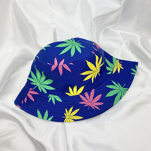 Blue, Pink, Green & Yellow Weed Leaf Bucket Hat