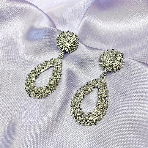 Silver Oval Statement Earrings