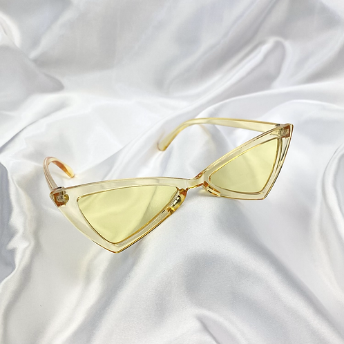 Yellow Clear Triangle Sunglasses
