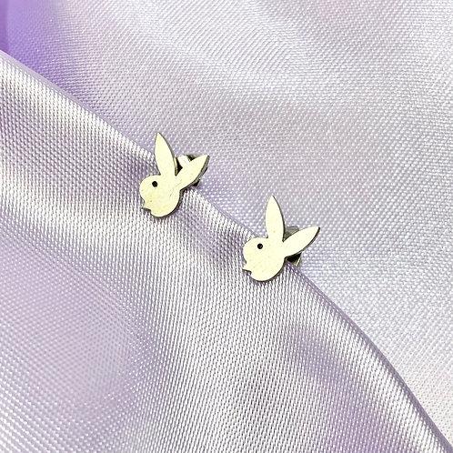 Silver Bunny Stud Earrings